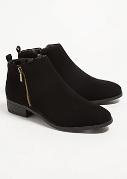 Black Faux Leather Essential Short Booties