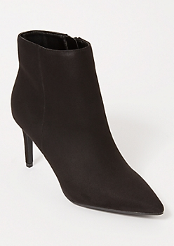 Black Faux Suede Stiletto Booties