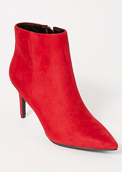 Red Faux Suede Stiletto Booties