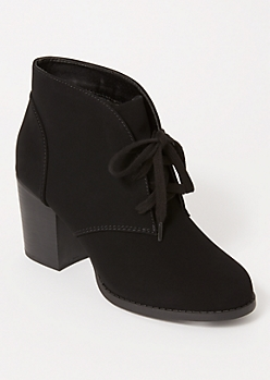Black Matte Low Heel Booties