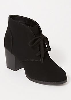 Black Matte Low Heel Booties
