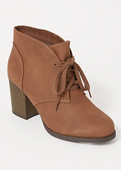 Brown Matte Low Heel Booties