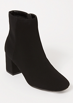 Black Matte Block Heeled Booties