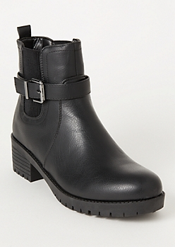 Black Side Buckle Gore Booties