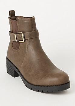 Taupe Side Buckle Gore Booties