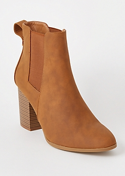 Cognac Side Gore Booties