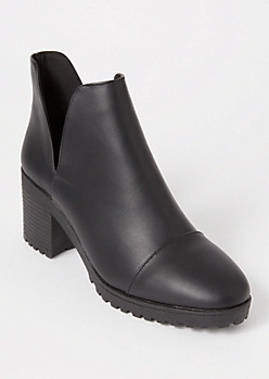 Black V Cutout Lug Booties