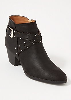 Black Crisscross Braided Strap Booties