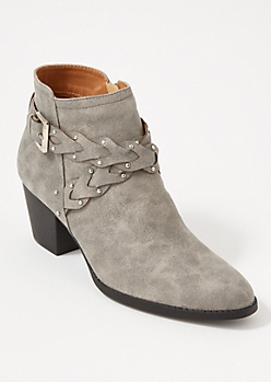 Gray Crisscross Braided Strap Booties