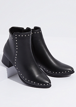 Black Faux Leather Silver Stud Booties