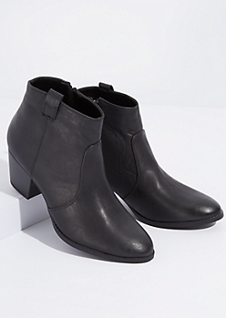 Black Faux Leather Western Front Booties