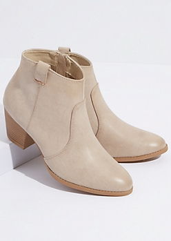 Sand Faux Leather Western Front Booties