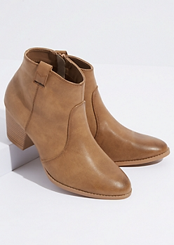 Taupe Faux Leather Western Front Booties