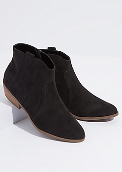 Black Faux Suede Western Booties