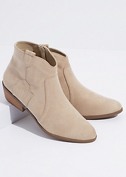 Taupe Faux Suede Western Booties