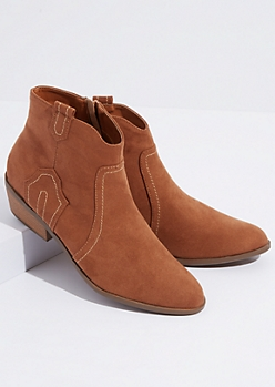 Camel Faux Suede Western Booties