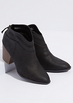Black Faux Suede Perforated Ankle Booties