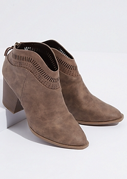 Brown Faux Suede Perforated Ankle Booties