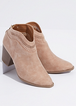 Taupe Faux Suede Perforated Ankle Booties