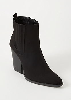Black Vented Faux Suede Booties