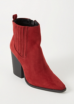 Red Vented Faux Suede Booties