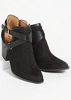 Black Faux Suede Crisscross Strap Booties