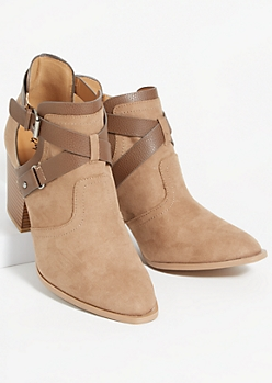 Tan Faux Suede Crisscross Strap Booties