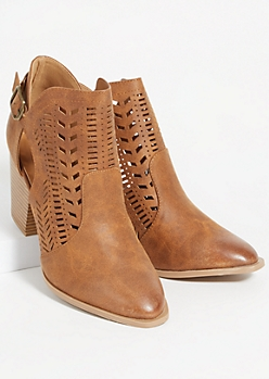 Tan Perforated Side Slit Buckle Booties