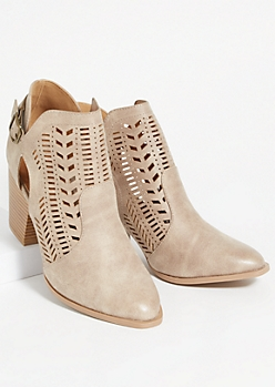 Beige Perforated Side Slit Buckle Booties