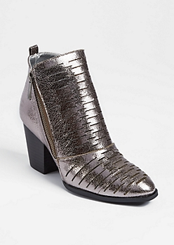 Pewter Cutout Metallic Booties