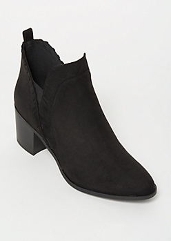 Black Faux Suede Whip Stitch Trim Booties