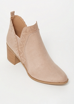 Taupe Faux Suede Whip Stitch Trim Booties