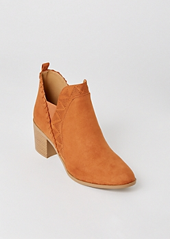 Cognac Faux Suede Whip Stitch Trim Booties