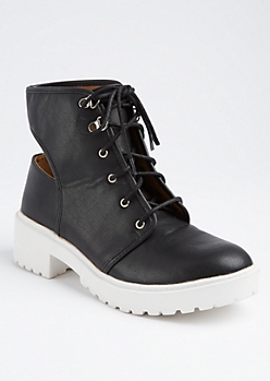 Black Cutout Back Combat Boots