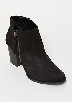Black Faux Suede Side Zip Booties