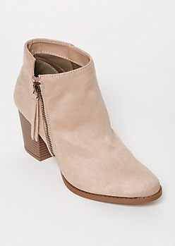 Taupe Faux Suede Side Zip Booties