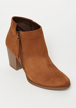 Cognac Faux Suede Side Zip Booties