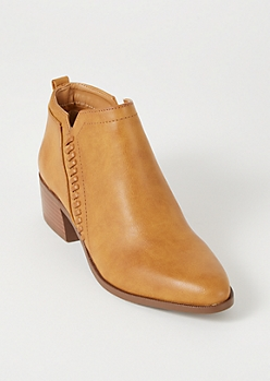 Cognac Whipstitched Booties