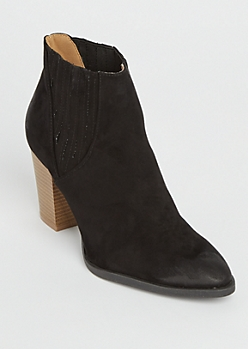 Black Side Rib Heeled Booties