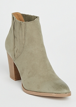 Khaki Side Rib Heeled Booties