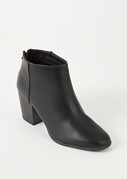 Black Faux Leather Back Zip Booties