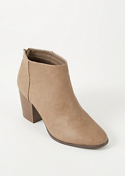 Taupe Faux Leather Back Zip Booties