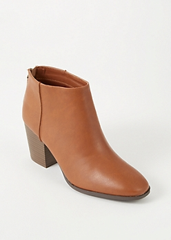 Camel Faux Leather Back Zip Booties