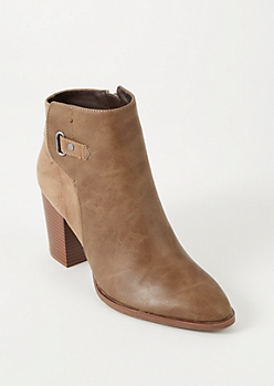 Taupe Faux Suede Leather Buckle Booties