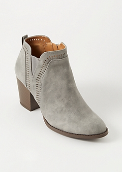 Gray Distressed Perforated Booties