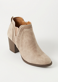 Taupe Distressed Perforated Booties