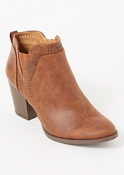 Cognac Distressed Perforated Trim Booties