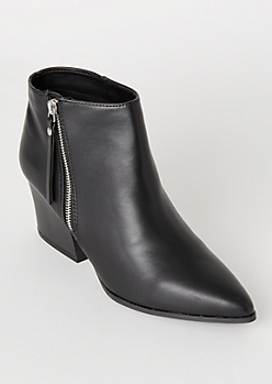 Black Faux Leather Pointed Toe Booties
