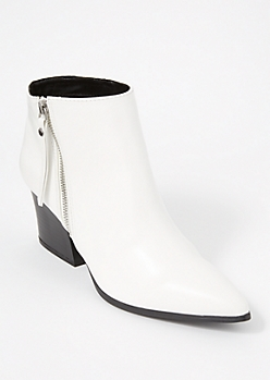 White Faux Leather Pointed Toe Booties