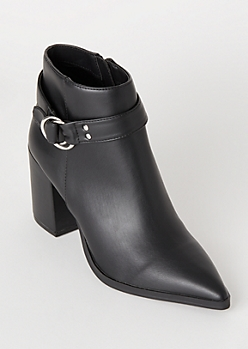 Black Faux Leather Side Buckle Booties